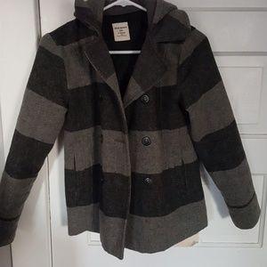Grey striped wool coat